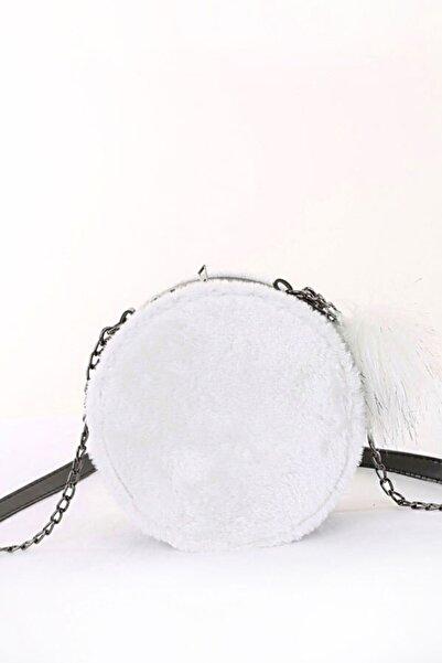 Bigdart Kadın Beyaz Peluşlu Yuvarlak Çanta 01059