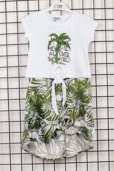Csw Kız Çocuk Yeşil Palmiye Desenli Alt Üst Takım