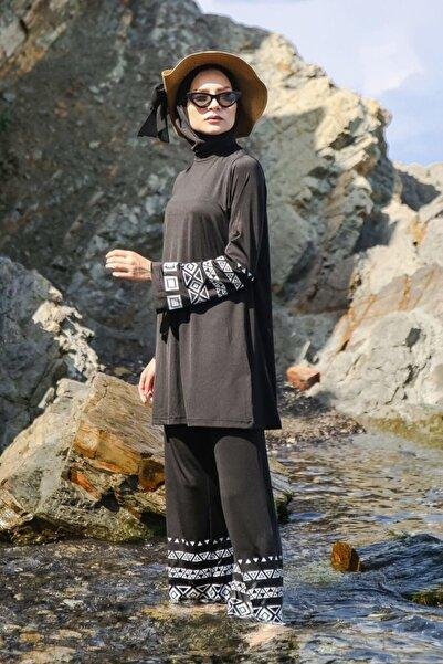 Marina Desen Baskılı Tasarım Tam Kapalı Tesettür Mayo M2036 Siyah