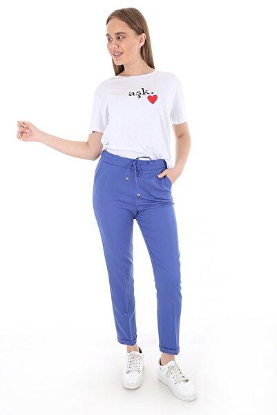Bigdart Kadın Lacivert Beli Lastikli Desenli Pantolon 6427
