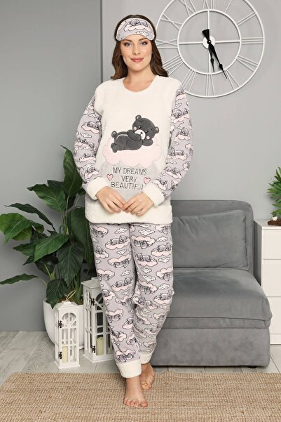Mossta Kadın Ekru Kışlık Welsoft Pijama Takımı