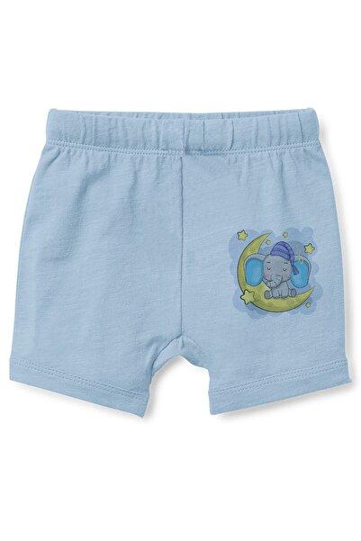 Angemiel Erkek Bebek Mavi Baby Ay Üzerinde Uyuyan Pijamalı Fil Şort