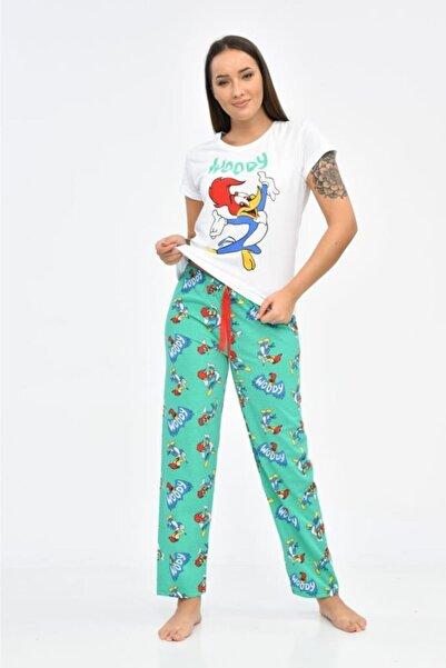 Modkofoni Baskılı Beyaz Tişört Ve Turkuaz Pantolonlu Pijama Takım