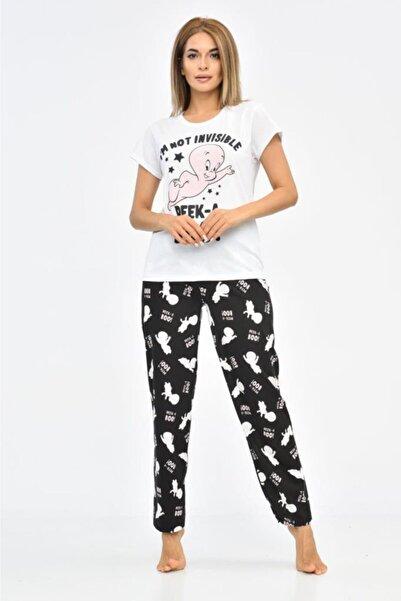 Modkofoni Baskılı Beyaz Tişört Ve Siyah Pantolonlu Pijama Takım