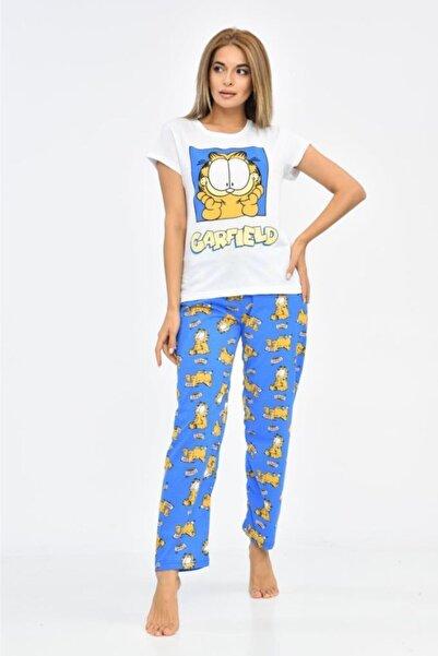 Modkofoni Baskılı Beyaz Tişört Ve Mavi Pantolonlu Pijama Takım