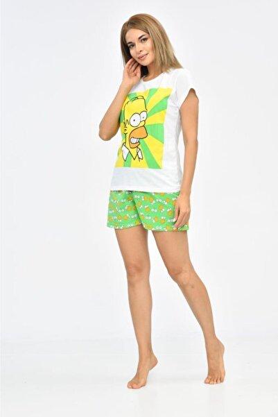 Modkofoni Baskılı Beyaz Tişört Ve Yeşil Şortlu Pijama Takım