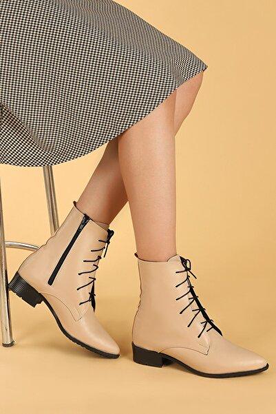 Ayakland 007-01 Cilt Bağcıklı Termo Taban Bayan Bot Ayakkabı