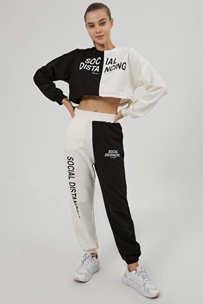 Y-London Kadın Siyah Beyaz Renk Bloklu Crop Örme Eşofman Takımı Y20W166-6418