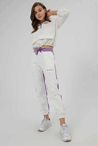 Y-London Kadın Lila İçi Polarlı Renk Bloklu Spor Eşofman Altı Y20W166-0069