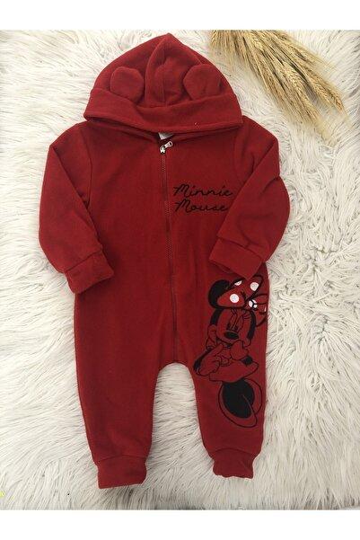DISNEY Kız Bebek Minnie Mouse Kırmızı Kapüşonlu Polar Tulum Takım