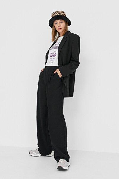 Stradivarius Kadın Siyah Straight Fit Pantolon 04562692