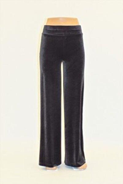 Kadın Füme  Düz Kadife Geniş Paça Pantolon