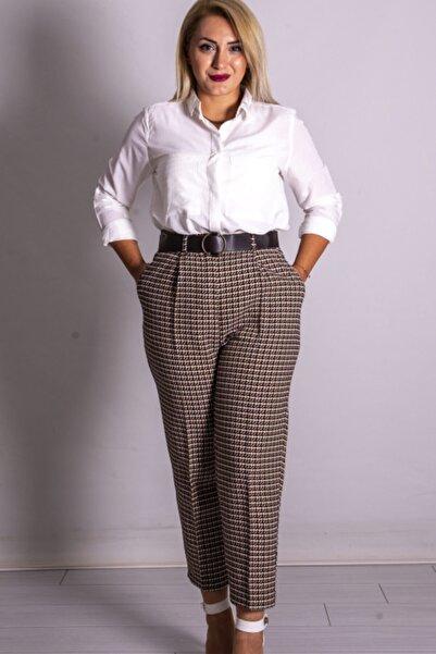 Quzu Kadın Kahverengi Ekose Kemerli Pantolon