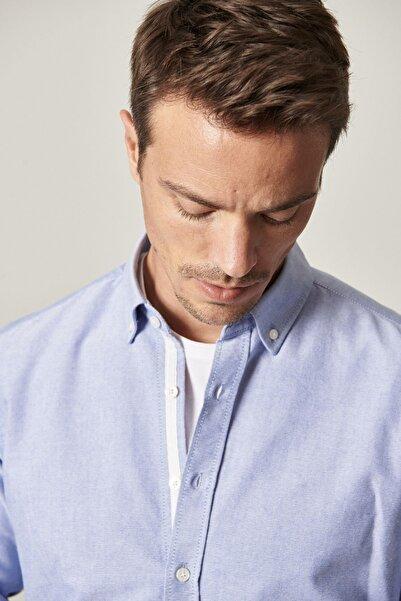 ALTINYILDIZ CLASSICS Erkek K.Mavı Tailored Slim Fit Dar Kesim Düğmeli Yaka Koton Oxford Gömlek