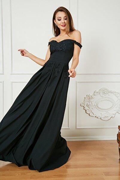 Sateen Kadın Siyah Güpürlü Düşük Omuz Uzun Abiye Elbise