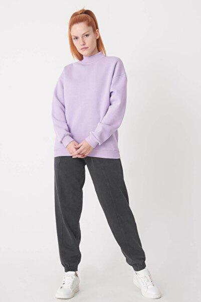 Addax Kadın Lila Yarım Balıkçı Yaka Sweatshirt S8606 - B4 - B5 ADX-0000019754
