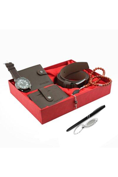 Zengin Hediyeler 8 Parça Kahverengi Yatay Patlı Erkek Cüzdan Saat Kemer Kartlık Kalem Anahtarlık Tespih Seti
