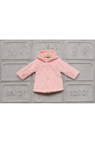 Bebitof Baby Kız Bebek Pembe Puanlı Kapüşonlu Kadife Hırka Ceket Das50