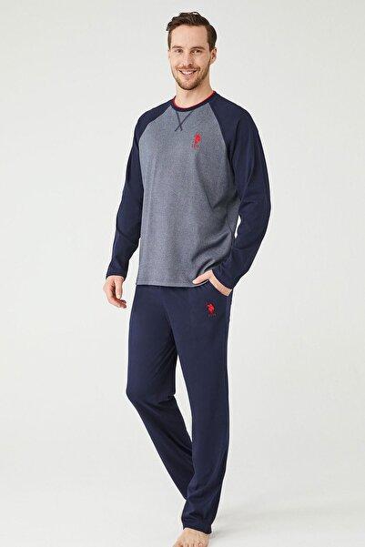 U.S POLO Erkek Lacivert  Yuvarlak Yaka Pijama Takım