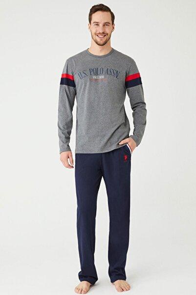 U.S POLO Erkek Antrasit Melanj Yuvarlak Yaka Pijama Takım