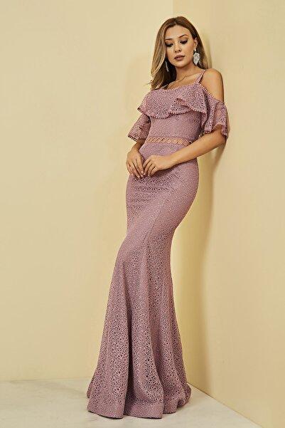 Sateen Kadın Gül Kurusu Güpürlü Balık Abiye Elbise