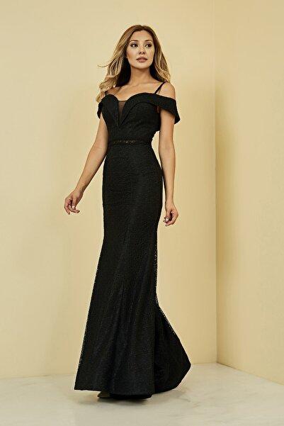 Sateen Kadın Siyah Uzun Balık Abiye Elbise
