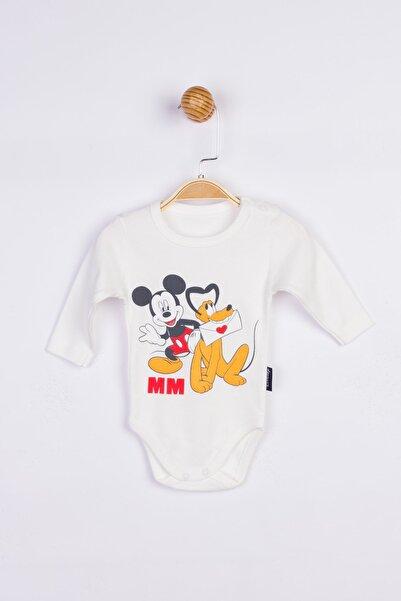 Mickey Mouse Erkek  Bebek   Ekru Body