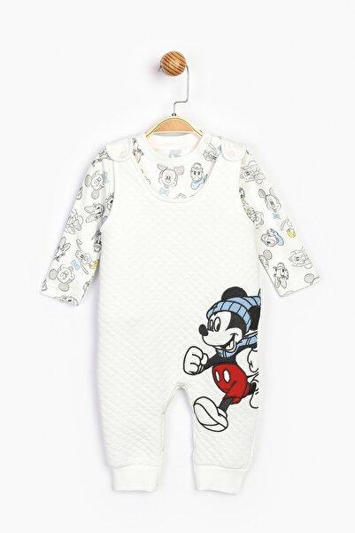 Mickey Mouse Bebek Ekru  Mickey Salopet Takım 16199