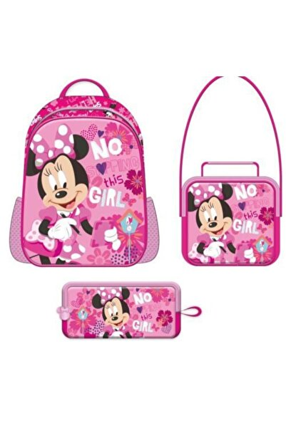 Minnie Mouse 3'lü Çanta Seti - Mınnıe Mouse Ilkokul Çanta Seti