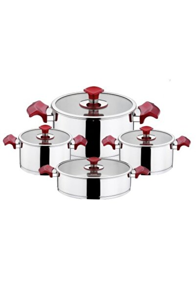 Aryıldız King Kırmızı 8 Parça Paslanmaz Çelik Tencere Takımı