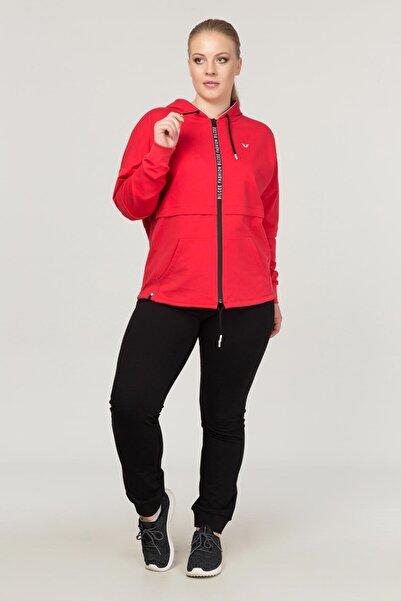 bilcee Kırmızı Büyük Beden Kadın  Eşofman Takımı FS-1199