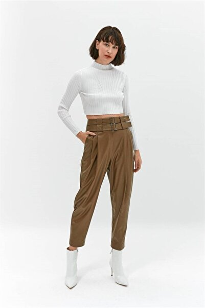 rue. Kadın Haki Suni Deri Pensli Pantolon