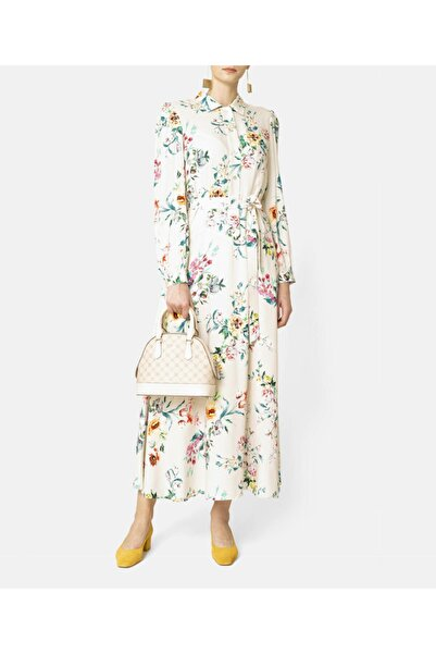 Aker Kadın Bej Çiçekli Elbise