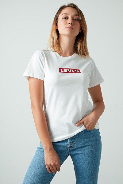 Levi's Kadın Beyaz Pamuklu Baskılı Bisiklet Yaka Tişört