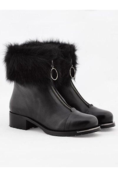 Nursace Kadın Siyah Hakiki Deri Kısa Topuklu Bot (1-4 cm) Nsc17k-b46642k