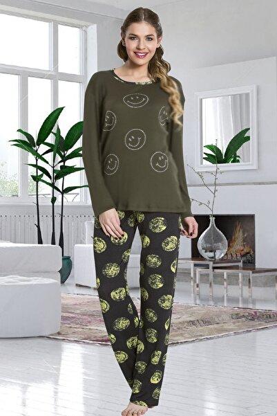 Lady Kadın Haki Uzun Kol Pijama Takımı