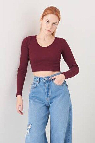 Kadın Bordo V Yaka Bluz B1045 - L10 ADX-0000022791