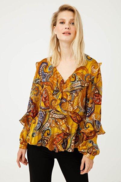 Ekol Kadın Hardal Desenli Fırfırlı Bluz