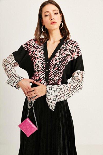 Say Kadın Fuşya Yanı Siyah Kuplu Geometrik Desen Bluz