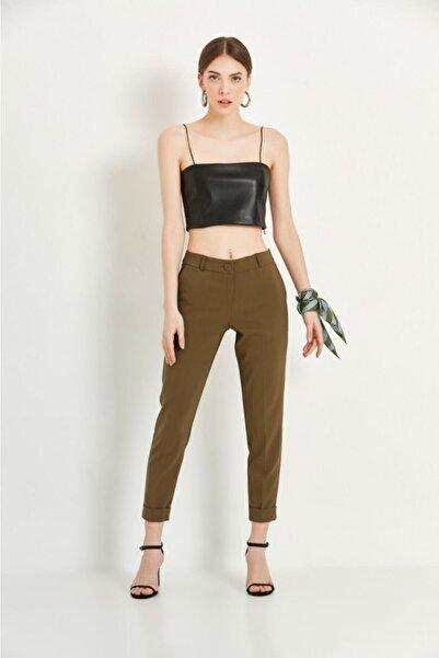 Say Kadın Haki Duble Paça Dar Kesim Pantolon