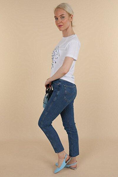 Oblavion Kadın Mavi Mom Jean Pantolon