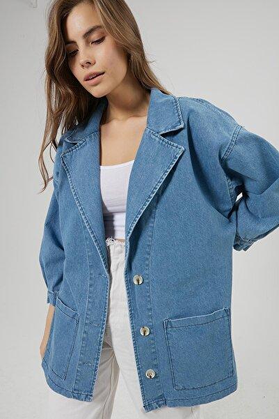 Y-London Kadın Denim Oversize Kot Ceket Y20W180-6499