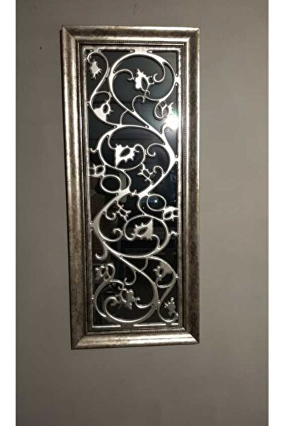 SETA BIANCA Stzd-208 Dekoratif Işlemeli Gümüş Ayna 46*111 Cm