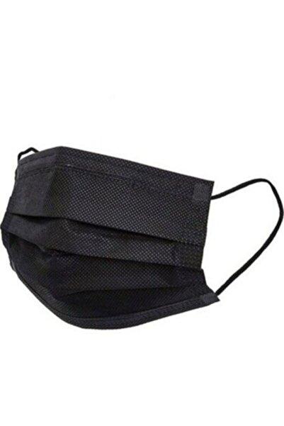 GLOBAL AS Siyah 3 Katlı Lastikli Telli Kokusuz 50lil Kutu Iso Belgeli Cerrahi Maske