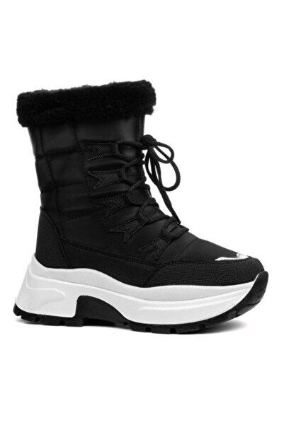 Twingo Kadın Kışlık Siyah Beyaz Içi Kürklü Bot Ayakkabı