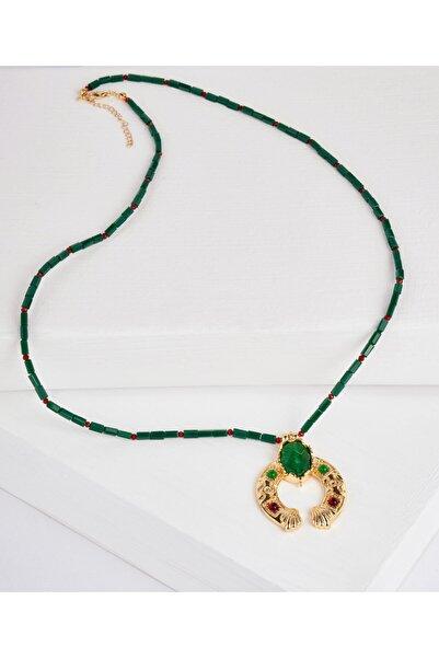 Aker Yeşil Jade Taşlı Kolye Sk6