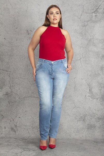 Şans Kadın Mavi Yıkama Efektli 5 Cep Kot Pantolon 65N19261