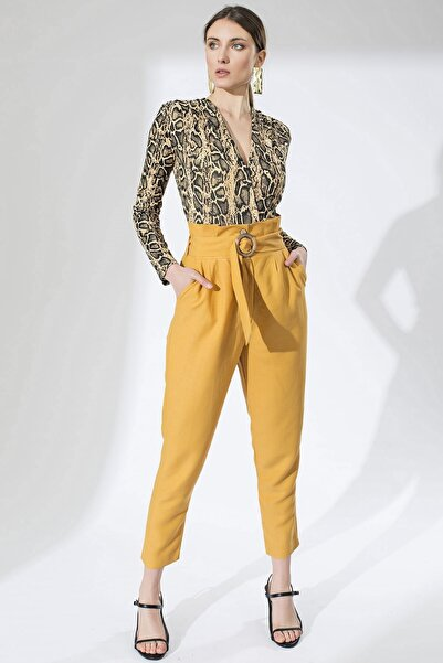 Arma Life Kadın Hardal Pileli Yüksek Bel Pantolon