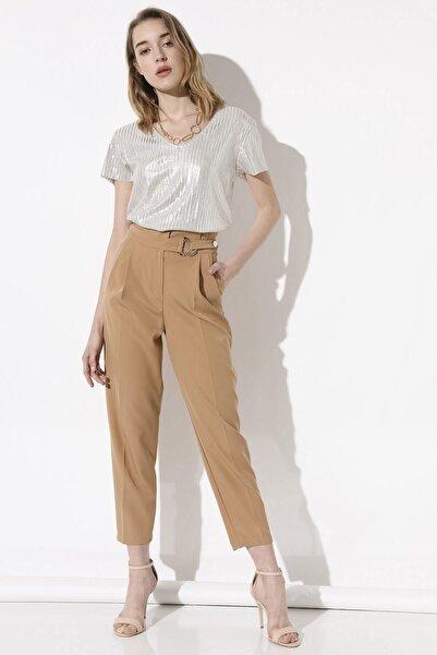Arma Life Kadın Kahverengi Tokalı Kumaş Pantolon