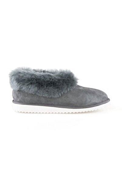 Kadın Gri Kürklü  Ev Ayakkabısı 191100